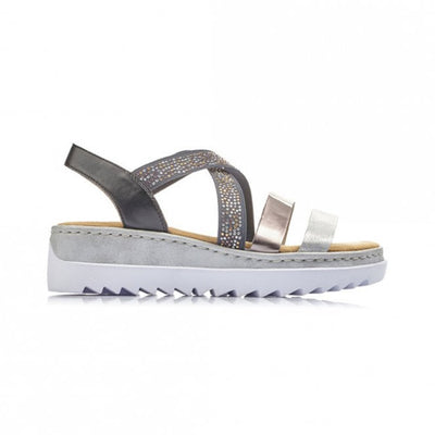 Rieker Ladies Wedge Sandal - V4479 - Silver