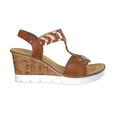 Rieker Ladies Wedge Sandal - V55H4 - Tan
