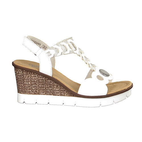 Rieker Ladies Wedge Sandal - V55H4 - White