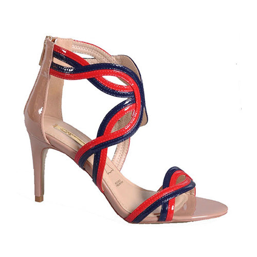 Glamour Dressy High Heels - Estella - Red/Navy