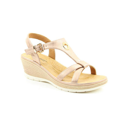 Heavenly Feet Wedge Sandal  - Coral  - Rose Gold