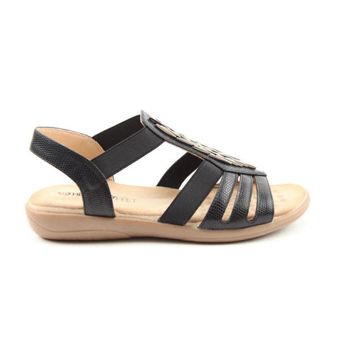 Heavenly Feet Flat Sandal - Agneta - Black