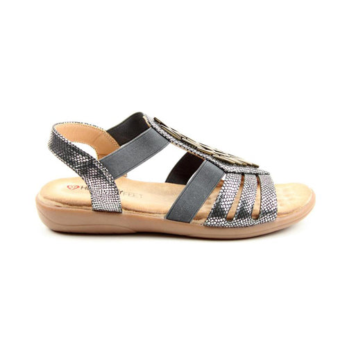 Heavenly Feet Low Wedge Sandals - Agneta - Pewter