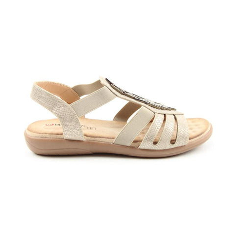 Heavenly Feet Low Wedge Sandals - Agneta - Stone