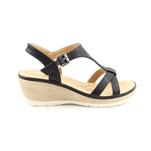 Heavenly Feet Wedge Sandal  - Coral  - Black