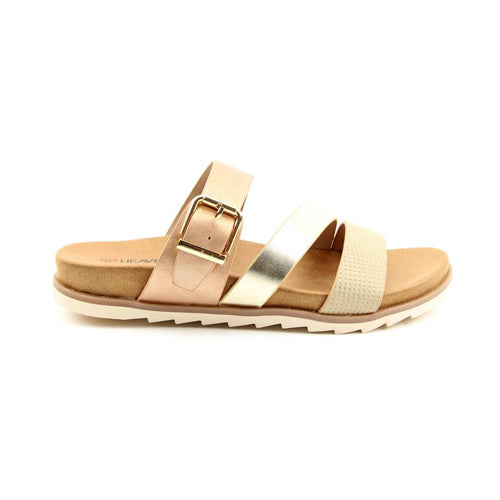 Heavenly Feet Flat Sandal  - Rosemary - Gold
