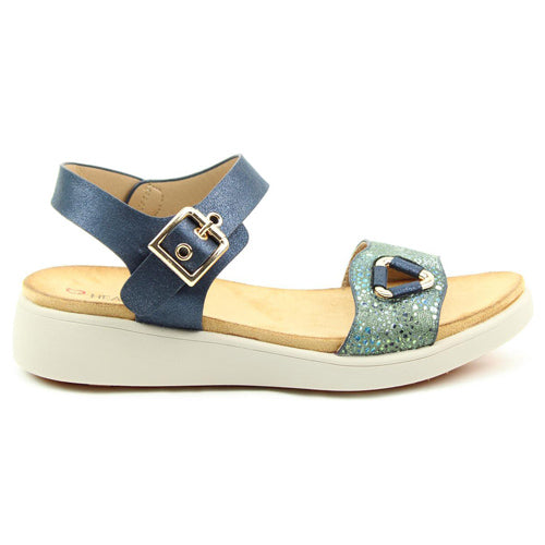Heavenly Feet Low Wedge Sandals- Etta - Navy