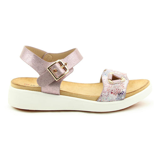 Heavenly Feet Low Wedge Sandals - Etta - Pink