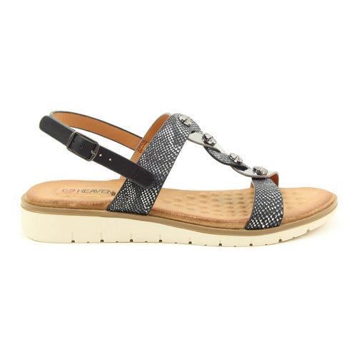 Heavenly Feet Ladies Low Wedge Sandals - Juliet - Black