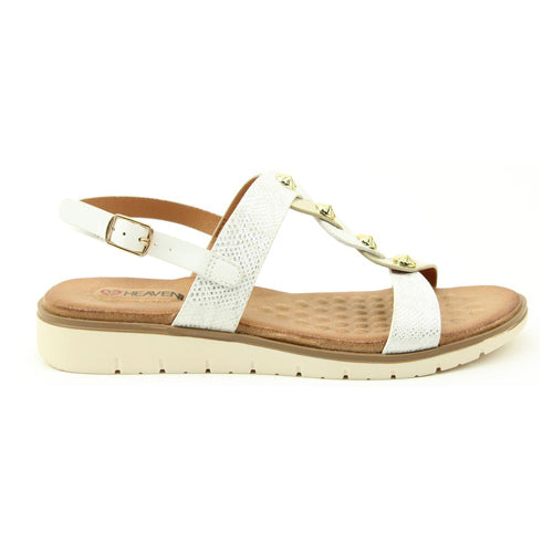 Heavenly Feet Low Wedge Sandals - Juliet - White