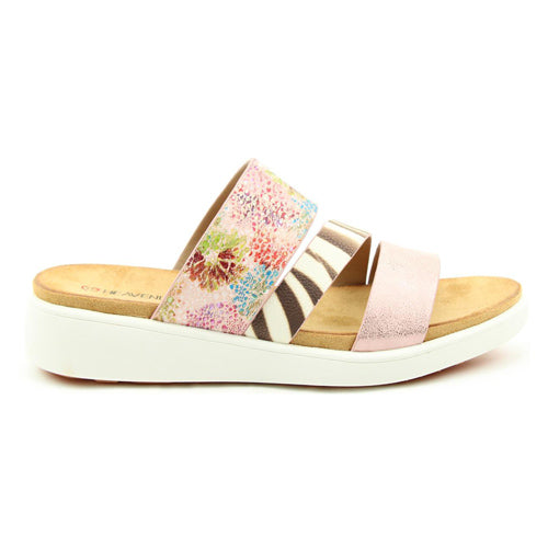 Heavenly Feet Wedge Sliders - Mona - Pink
