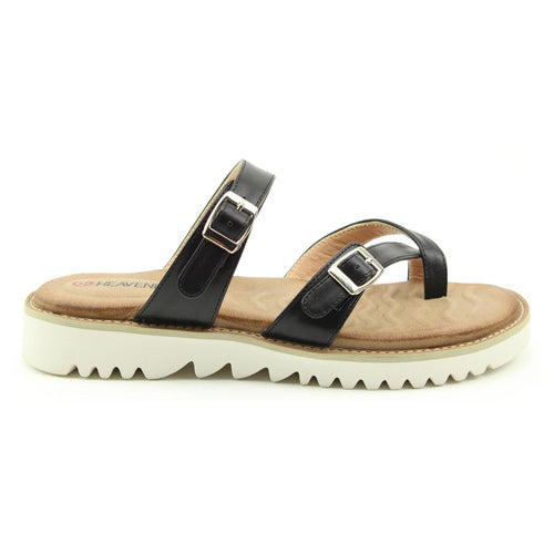 Heavenly Feet Loop Post Sandals - Sunset - Black