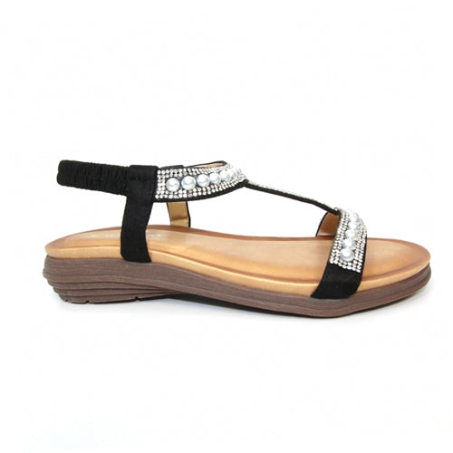 Lunar Flat Sandals - Tancy - Black