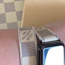 Load image into Gallery viewer, Handcrafted Double Loop Watchband Made from Re-Purposed Up-cycled Damier Azur Material for Apple Watch Series 1, 2, 3, 4, 5.