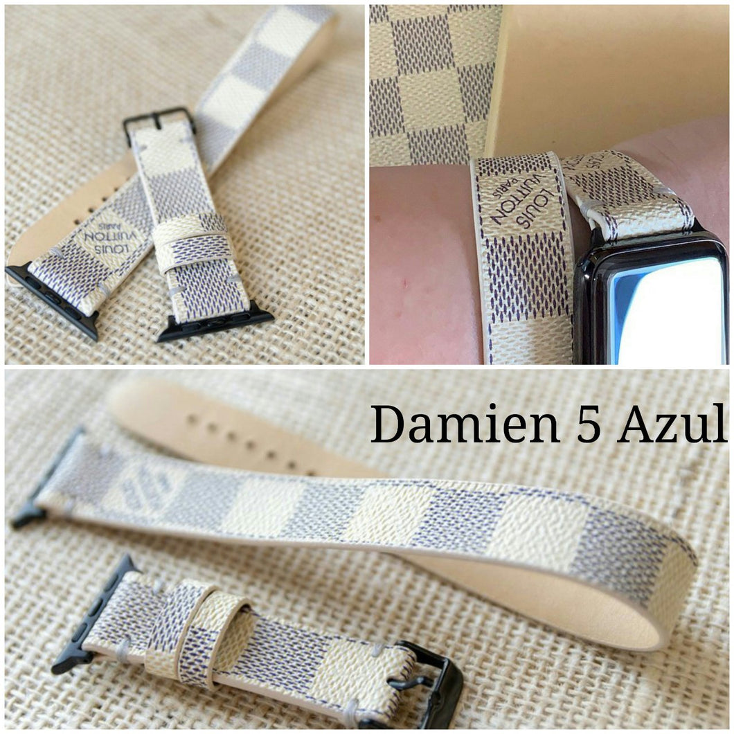Handcrafted Double Loop Watchband Made from Re-Purposed Up-cycled Damier Azur Material for Apple Watch Series 1, 2, 3, 4, 5.
