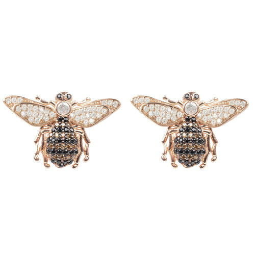Honey Bee Stud Earrings Rosegold