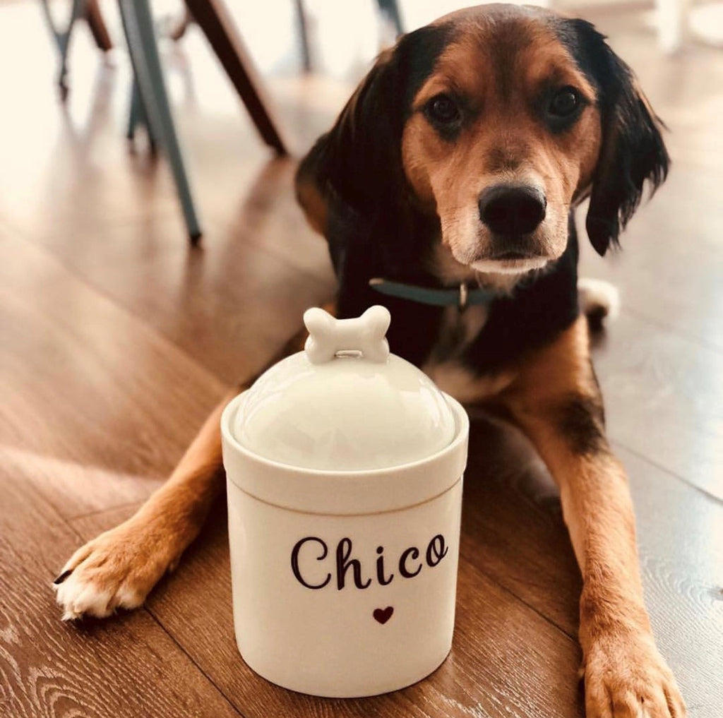 Personalized Dog Treat Jar Name and Heart - Dog Bone Lid