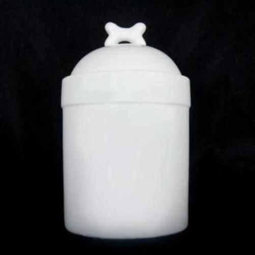 "Blank Dog Treat Jar and Canister - Dog Bone Lid - Porcelain - 7.75"" H x 4.75"" D - White"
