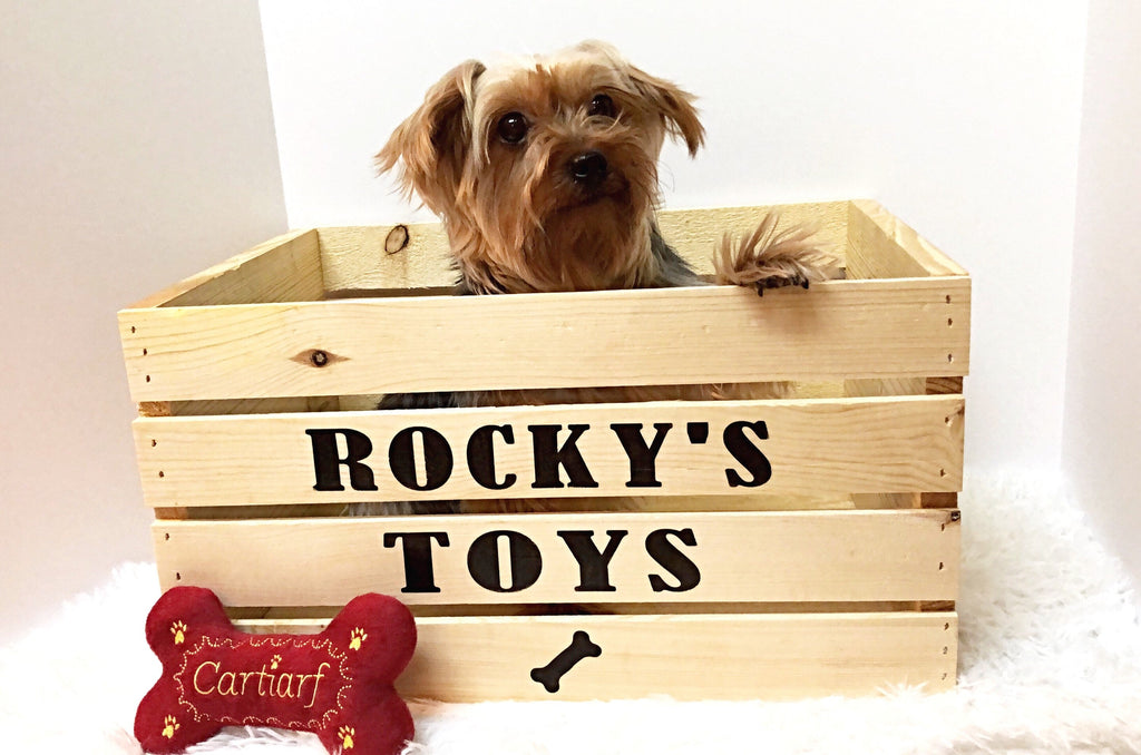 Dog Toy Box - Wooden - Personalized