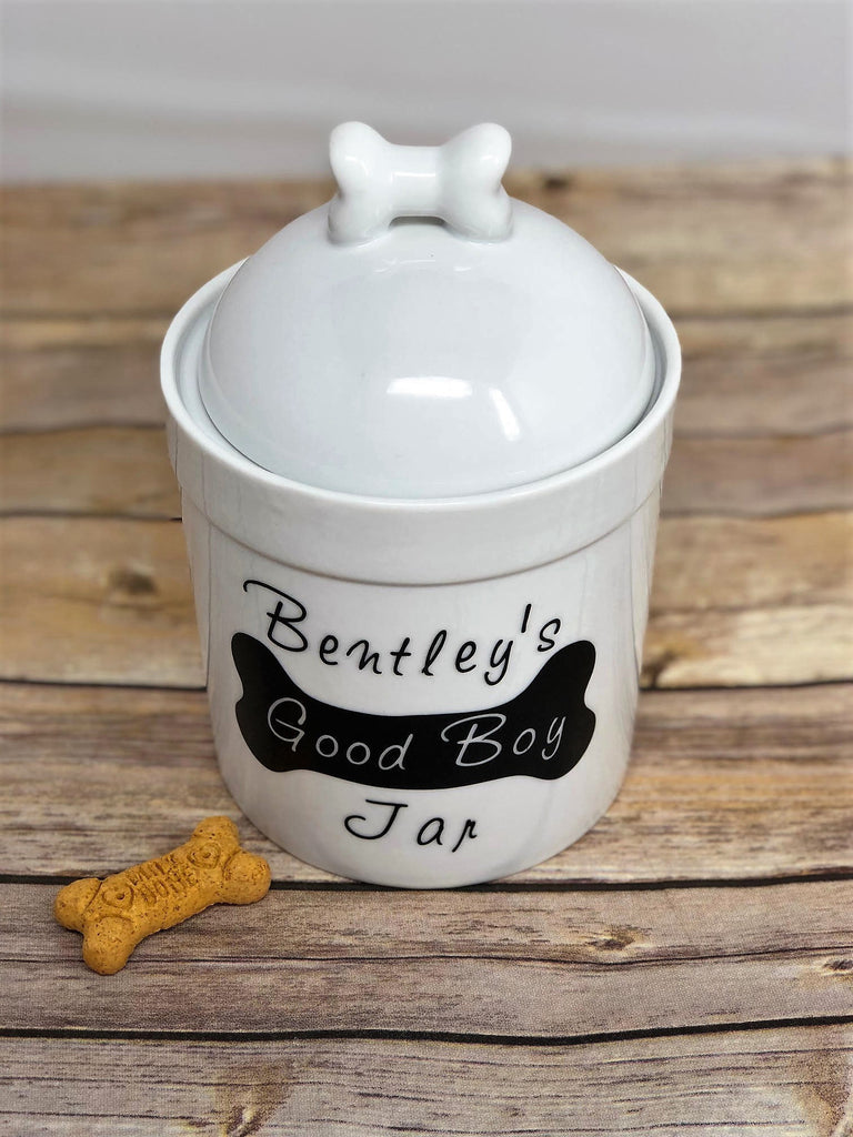 Personalized Dog Treat Jar with Name - Good Boy/Girl Jar - Dog Bone Lid