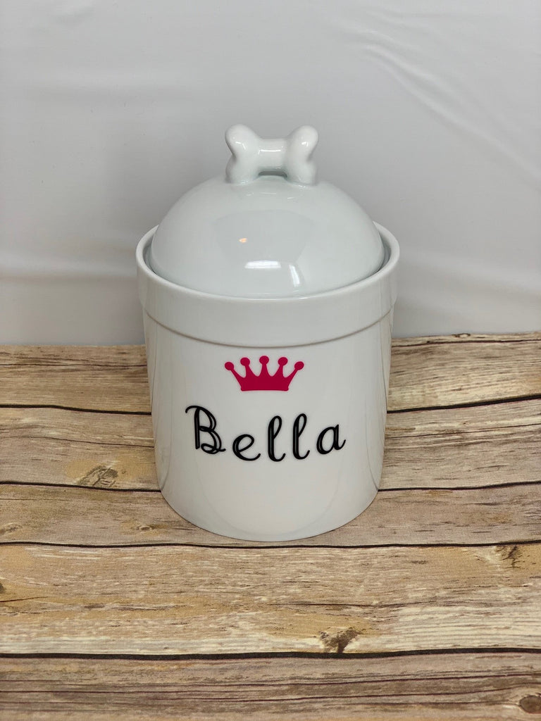 Personalized Dog Treat Jar Name and Crown - Dog Bone Lid