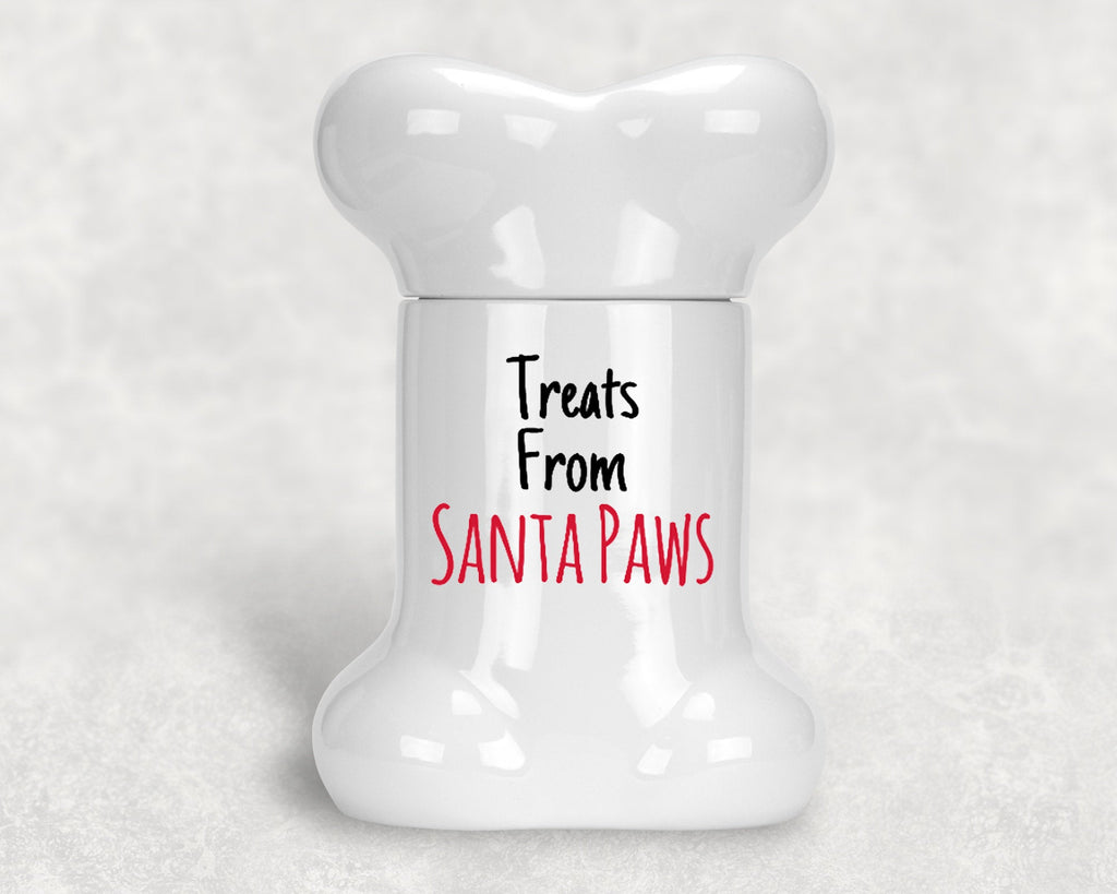 "Christmas Dog Bone Shape Treat Jar - Ceramic - 9"" H - Treats From Santa Paws"