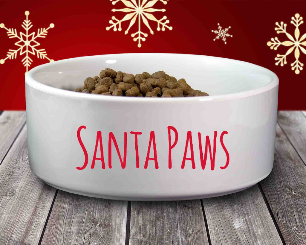 Christmas Pet Dog Bowl - Ceramic - Santa Paws
