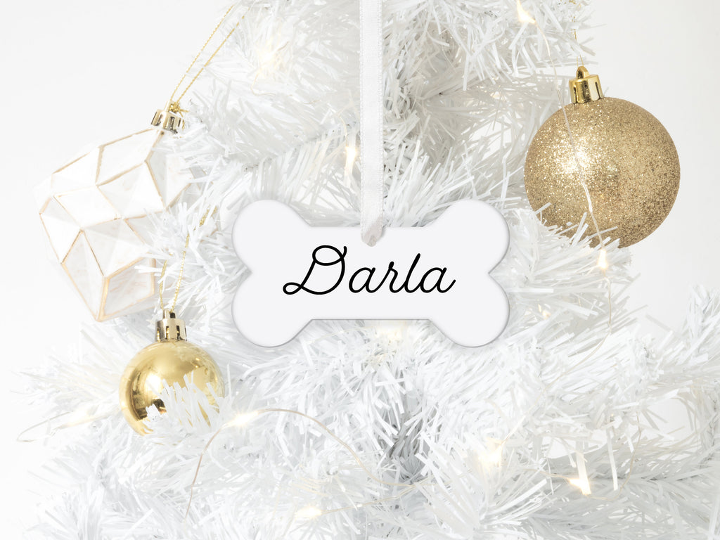 Personalized Dog Bone Shape Christmas Ornament with Name