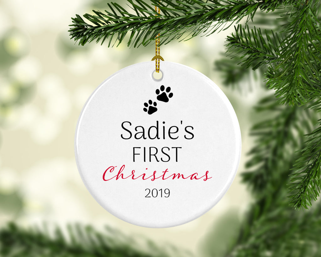 Personalized Christmas Pet Dog Ornament with Name/Year - 1st Christmas