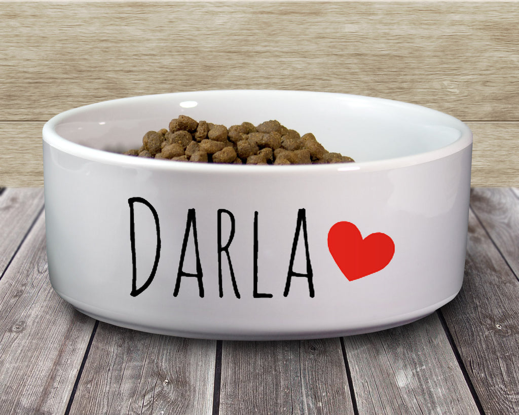 Personalized Pet Dog Bowl with Name and Heart