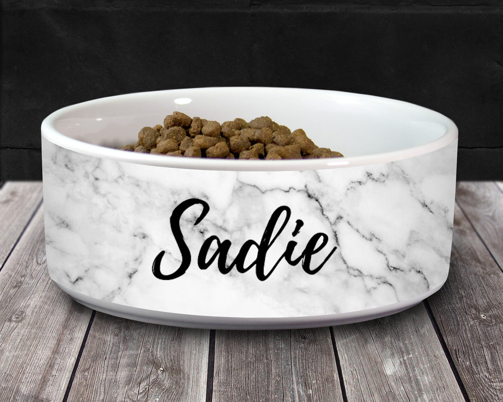 Personalized Pet Dog Bowl with Name - White Marble