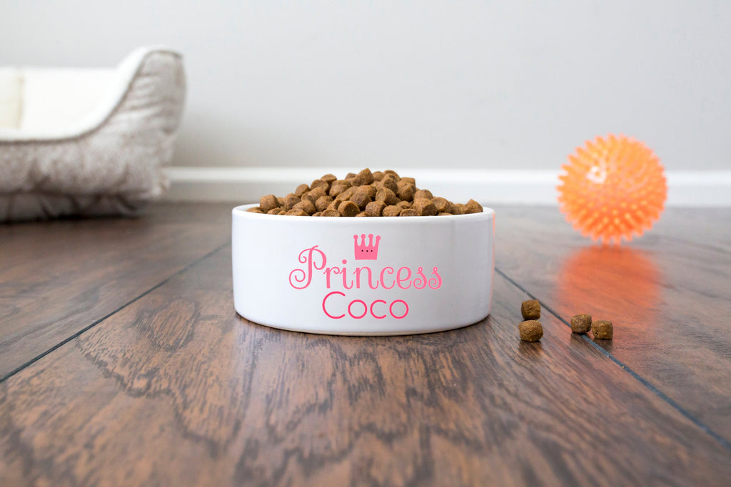 Personalized Pet Dog Bowl with Name and Crown - Princess