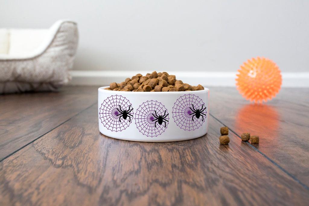 Halloween Pet Dog Bowl - Ceramic - Spider Web