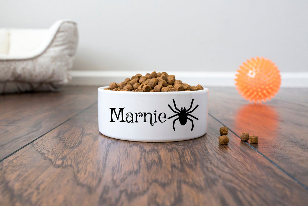 Personalized Halloween Pet Dog Bowl - Ceramic - Name and Spider Graphic