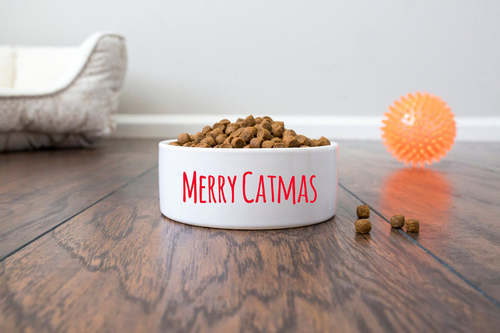 Christmas Cat Bowl - Ceramic - Merry Catmas