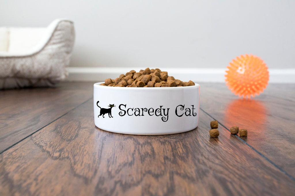 Personalized Halloween Cat Bowl - Ceramic - Scaredy Cat