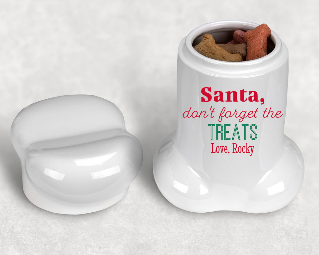 "Personalized Christmas Dog Bone Shape Treat Jar - 9"" H - Santa, don't forget the treats"