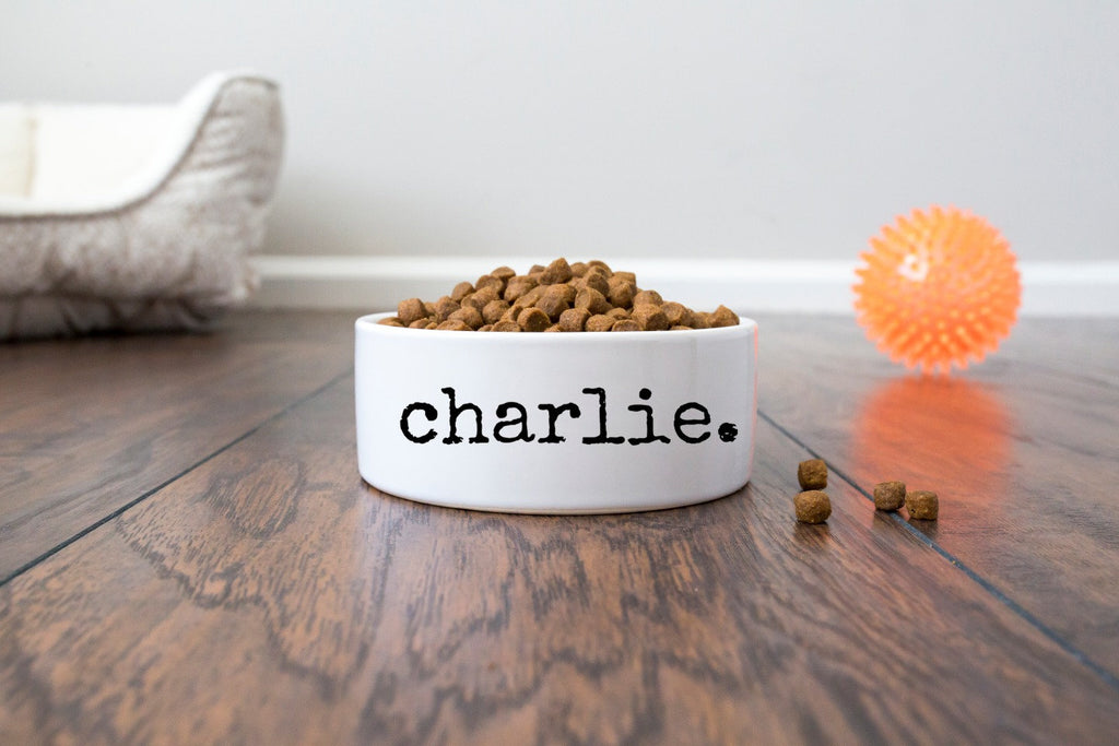 Personalized Pet Dog Bowl with Name in Distressed Font