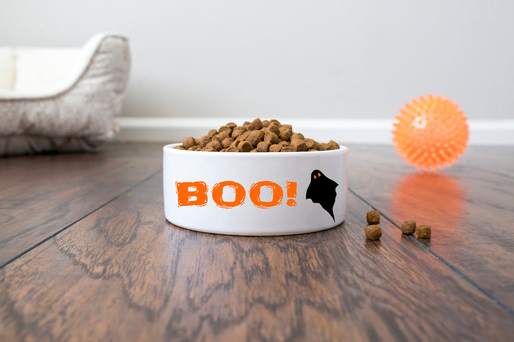 Halloween Pet Dog Bowl - Ceramic - BOO!