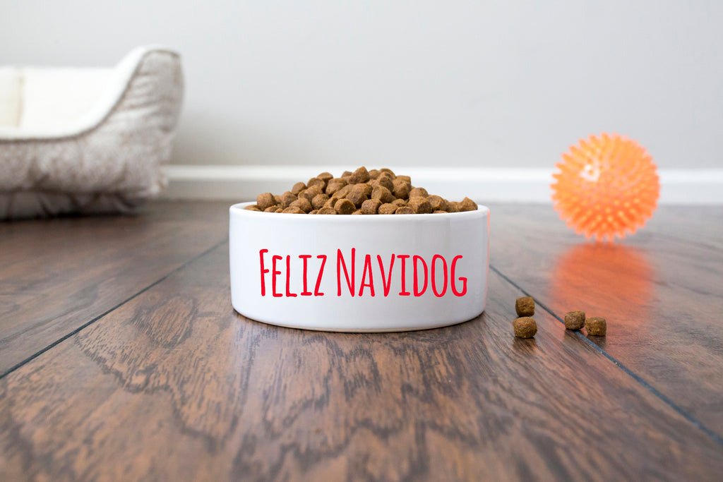 Christmas Pet Dog Bowl - Ceramic - Feliz Navidog