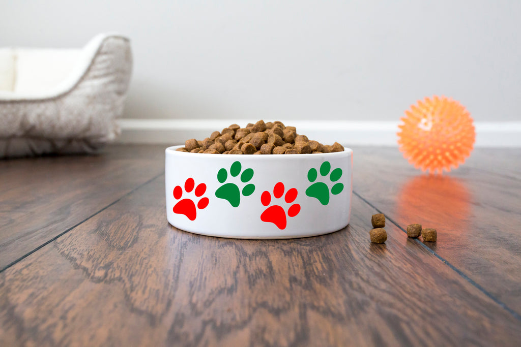 "Christmas/Holiday Pet Dog Bowl - Ceramic - Red and Green Paws - 6"" or 7"" - White"