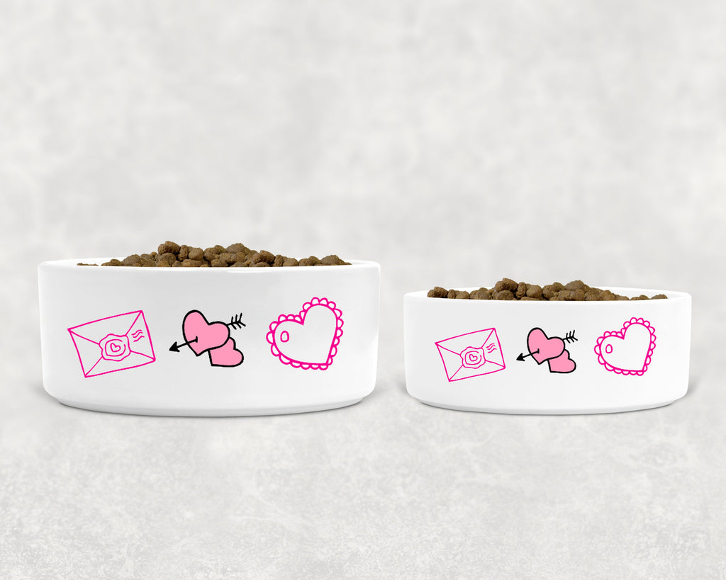 "Valentine's Day Pet/Cat/Dog Bowl - Ceramic - Love Icons - 6"" or 7"" - White"