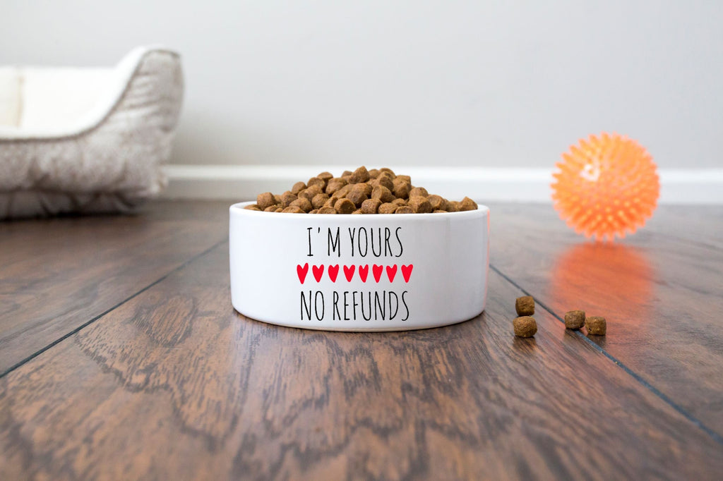 "Valentine's Day Pet/Cat/Dog Bowl - Ceramic - I'm Yours, No Refunds - 6"" or 7"" - White"