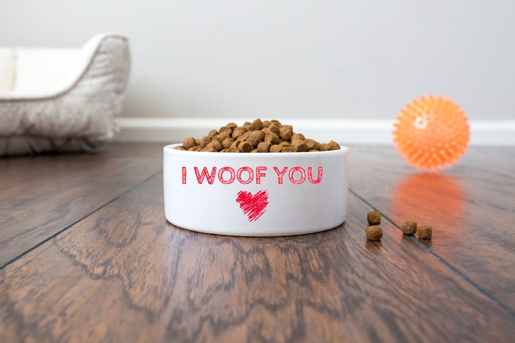 "Valentine's Day Pet/Cat/Dog Bowl - Ceramic - I Woof You - 6"" or 7"" - White"