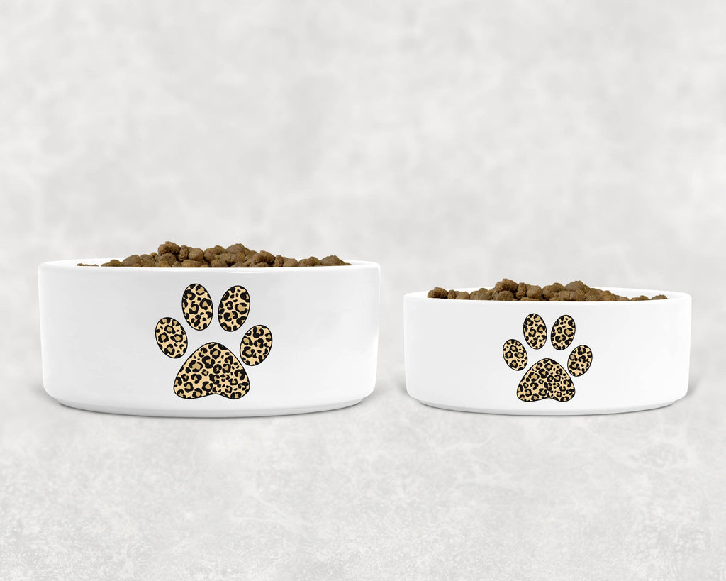 "Pet Dog Bowl - Ceramic - Cheetah/Leopard Paw Silhouette - 6"" or 7"""