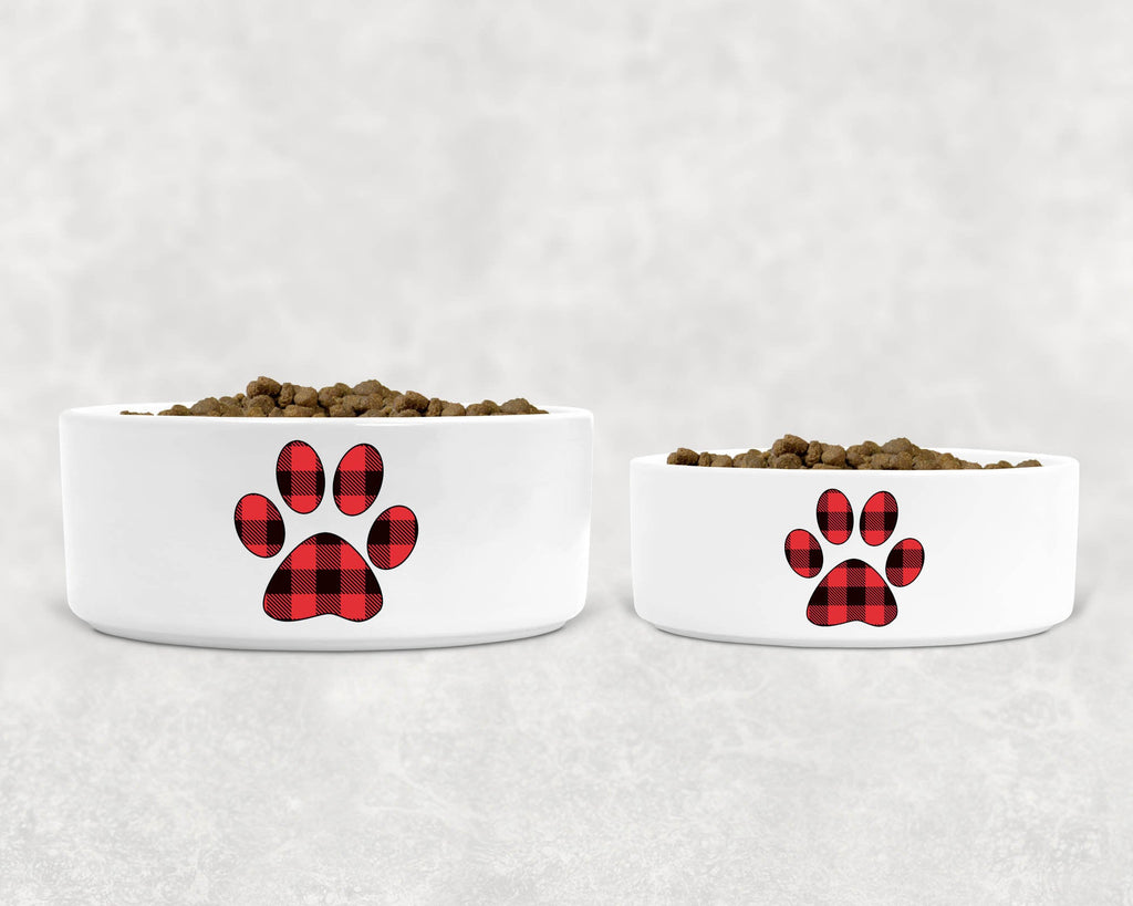 "Christmas/Holiday Pet Dog Bowl - Ceramic - Red Buffalo Plaid Paw Silhouette - 6"" or 7"""