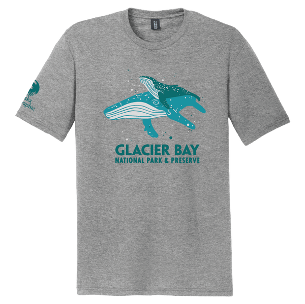 Photo shows front of gray t-shirt with two blue humpback whales and text Glacier Bay National Park & Preserve