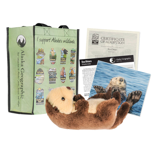 Photo of kit, includes plush sea otter, photo of sea otter, certificate of adoption, and recycled bag