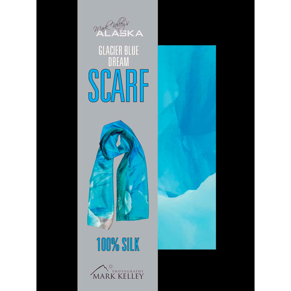 Photo of silk scarf in shades of blue from a glacier