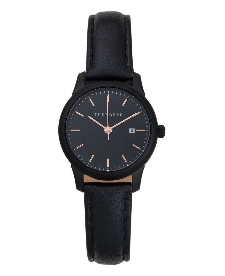 IG3 The Horse Ivy Girl Ladies Watch with Date Sandblasted Matte Black Case / Black Dial/ Rose Gold Indexes